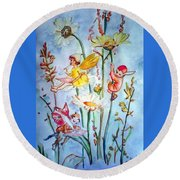 Fairy Babies Round Beach Towel
