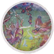 Round Beach Towel featuring the painting Fairy Ballet by Judith Desrosiers