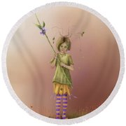 Fairy Bella Lavender Round Beach Towel
