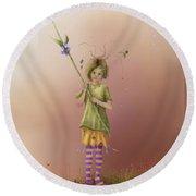 Fairy Bella Lavender Round Beach Towel