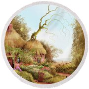 Fairy Chase Cottage Round Beach Towel