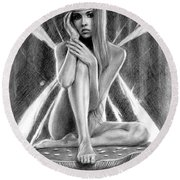 Fairy Drawing Round Beach Towel