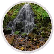 Fairy Falls Round Beach Towel by Jonathan Davison