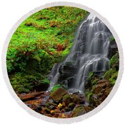 Fairy Falls Oregon Round Beach Towel by Jonathan Davison