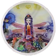 Fairy Garden  Round Beach Towel