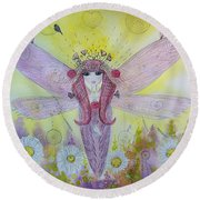Fairy Messenger  Round Beach Towel