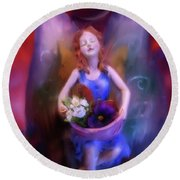Round Beach Towel featuring the painting Fairy Of The Garden by Joseph J Stevens