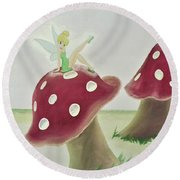 Fairy On Mushroom Trees Round Beach Towel