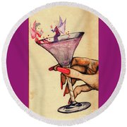 Fairy Party Round Beach Towel by Angela Murray
