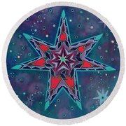 Fairy Star A Seven Pointed Star Round Beach Towel