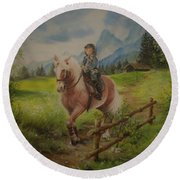 Fairy Tale In The Alps Round Beach Towel