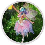 Fairy With Light Round Beach Towel