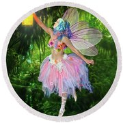 Fairy With Light Round Beach Towel