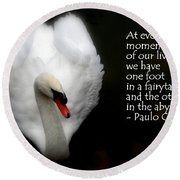 Round Beach Towel featuring the photograph Fairytale Swan by Lainie Wrightson