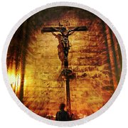 Round Beach Towel featuring the photograph Faith, Light, And Hope by John Rivera
