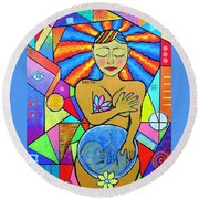 Faith, She Carries The World On Her Hips Round Beach Towel