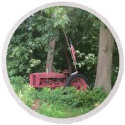 Faithful American Tractor Round Beach Towel by Jeanette Oberholtzer