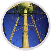 Round Beach Towel featuring the photograph Faithful Mary Leila Cotton Mill Water Tower Art by Reid Callaway
