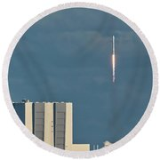 Round Beach Towel featuring the photograph Falcon 9 Launch by Norman Peay