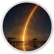 Round Beach Towel featuring the photograph Falcon 9  Night Launch by Norman Peay