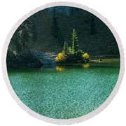 Fall Afternoon On Sheep Lake Round Beach Towel