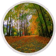 Fall Afternoon On The Rail Trail Round Beach Towel
