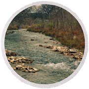 Fall Along The River Round Beach Towel
