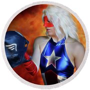 Fall And Rise Of A Hero Round Beach Towel