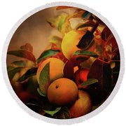 Fall Apples A Living Still Life Round Beach Towel