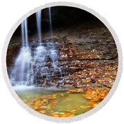 Fall At Blue Hen Falls Round Beach Towel