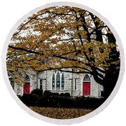Fall At Church Round Beach Towel