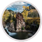 Round Beach Towel featuring the photograph Fall At Crystal Mill by James Udall