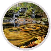 Fall At Garwin Falls Round Beach Towel