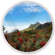 Fall At Grandfather Mountain Round Beach Towel