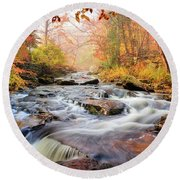 Fall At Gunstock Brook I Round Beach Towel
