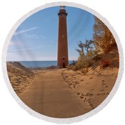 Fall At Little Point Sable Light Round Beach Towel