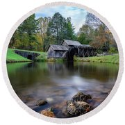 Fall At Mabry Mill Round Beach Towel