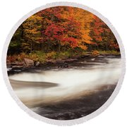 Fall At Oxtongue Rapids Round Beach Towel