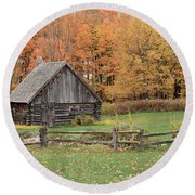 Fall At The Log Cabin Round Beach Towel