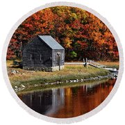 Fall At Rye Round Beach Towel by Tricia Marchlik