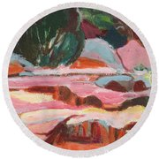 Fall At Slide Rock I Round Beach Towel