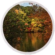 Fall At The Lake Round Beach Towel