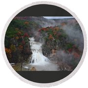 Fall At Turner Falls Round Beach Towel