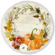 Round Beach Towel featuring the painting Fall Autumn Harvest Wreath On Birch Bark Watercolor by Audrey Jeanne Roberts