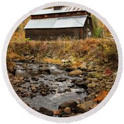 Round Beach Towel featuring the photograph Fall Barn  by Betty Pauwels