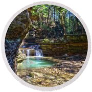 Fall Below Old Mans Cave Round Beach Towel