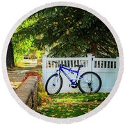 Round Beach Towel featuring the photograph Fall Bicycle Of Laramie by Craig J Satterlee