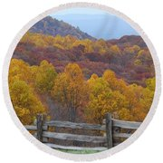 Round Beach Towel featuring the photograph Fall Blend by Eric Liller