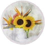 Round Beach Towel featuring the digital art Fall Bouquet by Sue Collura