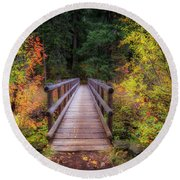 Round Beach Towel featuring the photograph Fall Bridge by Cat Connor